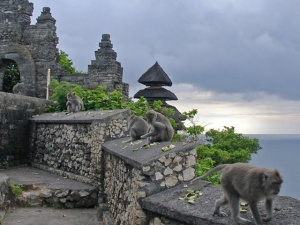 The monkey-filled temple of Ulu Watu--courtesy of  BayBali.com (it was raining and our photos didn't come out as well)