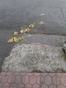 Offerings in the middle of the road. After I took this shot, I noticed Obama scrawled into the sidewalk, too.
