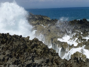 Waves crashing on an atoll in Nusa Dua