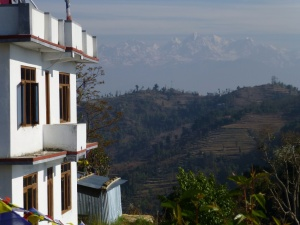 View of the Himalayas from the monastery