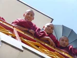 Several monks, just hangin' before lunch