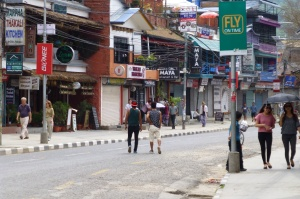 A very quiet Pokhara during the bandha...no cars.