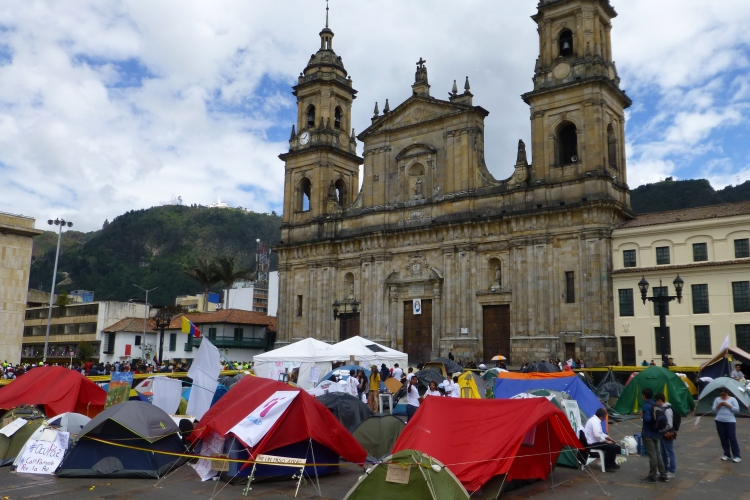 Occupy peace activists camped in Simon Bolivar plaza