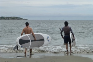 Don and David on their paddleboard approach